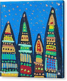 Blue Sky Catherdrals Acrylic Print by Maria Curcic