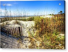 Acrylic Print featuring the photograph Blue Sky Dunes by Debra and Dave Vanderlaan