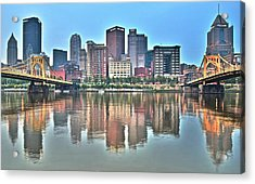 Blue Sky Reflecting Water Acrylic Print by Frozen in Time Fine Art Photography