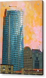 Acrylic Print featuring the photograph Blue Skyscraper Seattle by Yulia Kazansky