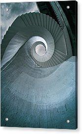 Acrylic Print featuring the photograph Blue Spiral Stairs by Jaroslaw Blaminsky