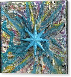 Blue Star Shining At Me Acrylic Print by Anne-Elizabeth Whiteway