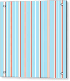 Blue Stripe Pattern Acrylic Print
