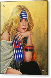 Blue Striped Bandana Acrylic Print by Jack Knight