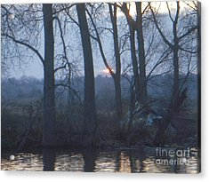 Blue Sunset On Fox River Acrylic Print by Deborah Finley