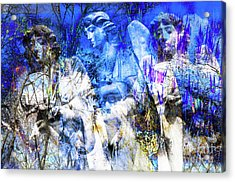Acrylic Print featuring the digital art Blue Symphony Of Angels by Silva Wischeropp