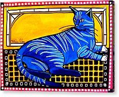 Blue Tabby - Cat Art By Dora Hathazi Mendes Acrylic Print by Dora Hathazi Mendes