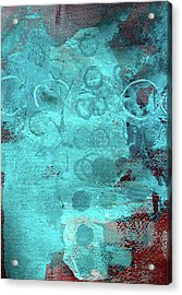 Acrylic Print featuring the painting Blue Textures by Nancy Merkle