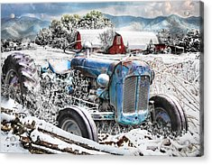 Blue Tractor At The Twin Barns In Snow Acrylic Print