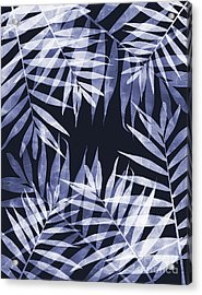 Blue Tropical Leaves Acrylic Print