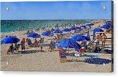 Blue Umbrella  Beach Acrylic Print by David Lee Thompson