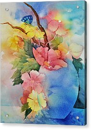Blue Vase Bouquet Acrylic Print by Sandy Fisher
