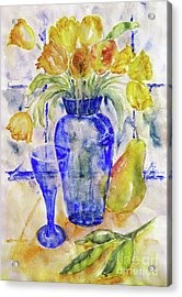 Acrylic Print featuring the painting Blue Vase by Jasna Dragun