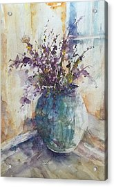 Blue Vase Of Lavender And Wildflowers Aka Vase Bleu Lavande Et Wildflowers  Acrylic Print