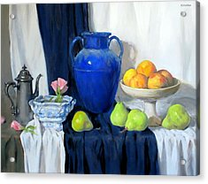 Blue Vase, Peaches, Pears, Lisianthus, Silver Coffeepot Acrylic Print