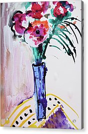 Blue Vase With Red Wild Flowers Acrylic Print by Amara Dacer