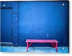 Blue Wall Pink Bench Acrylic Print by Colleen Kammerer