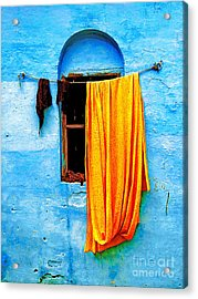 Blue Wall With Orange Sari Acrylic Print