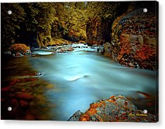 Blue Water And Rusty Rocks Signed Acrylic Print