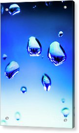 Blue Water Droplets On Glass Acrylic Print
