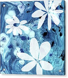 Blue Water Flowers- Art By Linda Woods Acrylic Print