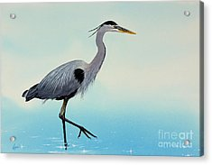 Acrylic Print featuring the painting Blue Water Heron by James Williamson