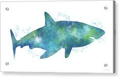 Blue Watercolor Shark- Art By Linda Woods Acrylic Print