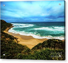 Acrylic Print featuring the photograph Blue Wave Beach by Perry Webster