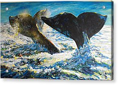 Acrylic Print featuring the painting Blue Whales by Koro Arandia