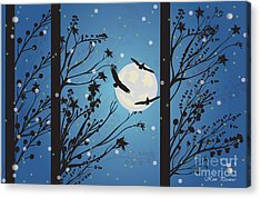 Acrylic Print featuring the digital art Blue Winter Moon by Kim Prowse
