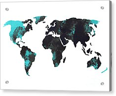 Blue World Map Watercolor Painting Acrylic Print