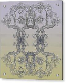 Blue Yellow Tree 14 Hybrid 4 Acrylic Print