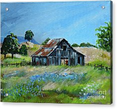 Acrylic Print featuring the painting Bluebell Barn - Rustic Bar - Bluebellsn by Jan Dappen