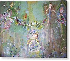 Acrylic Print featuring the painting Bluebell Fairies by Judith Desrosiers