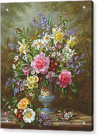 Bluebells Daffodils Primroses And Peonies In A Blue Vase Acrylic Print