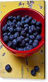 Blueberries In Red Bowl Acrylic Print by Garry Gay