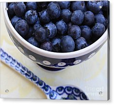 Blueberries With Spoon Acrylic Print by Carol Groenen