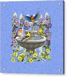 Bluebird Goldfinch Birdbath Garden Light Blue Acrylic Print by Crista Forest