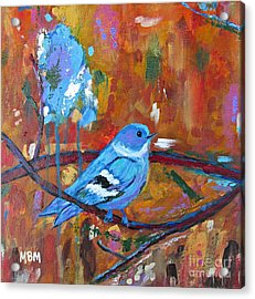 Bluebird In Autumn Acrylic Print