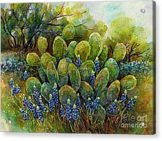 Bluebonnets And Cactus 2 Acrylic Print by Hailey E Herrera