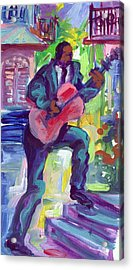 Blues Man On Steps Acrylic Print by Saundra Bolen Samuel