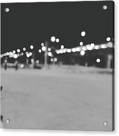 Blurred Lamp Poles On Street At Night  Acrylic Print by Sirikorn Techatraibhop
