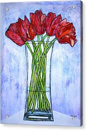 Blushing Red Tulips Acrylic Print by Janet Immordino