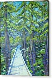 Boardwalk At Cypress Preserve Acrylic Print by Sheri Hubbard