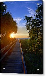 Sunset At The End Of The Boardwalk Acrylic Print