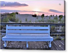 A Welcome Invitation -  The Boardwalk Bench Acrylic Print