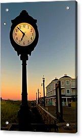 Boardwalk Clock With Rising Moon. Bethany Beach. Acrylic Print