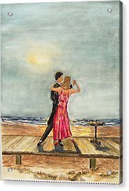 Boardwalk Dancers Acrylic Print by Miroslaw  Chelchowski