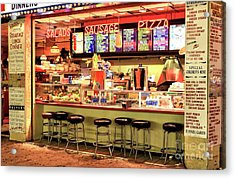 Boardwalk Dining Colors At Wildwood Acrylic Print by John Rizzuto
