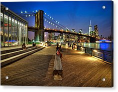 Boardwalk View At Brooklyn Bridge Park Acrylic Print by Daniel Portalatin